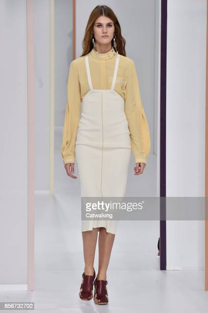 A model walks the runway at the Hermes Spring Summer 2018 fashion show during Paris Fashion Week on October 2 2017 in Paris France