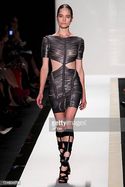 Model walks the runway at the Herve Leger by Max Azria 2012 fashion show during Mercedes-Benz Fashion Week at The Theater at Lincoln Center on...