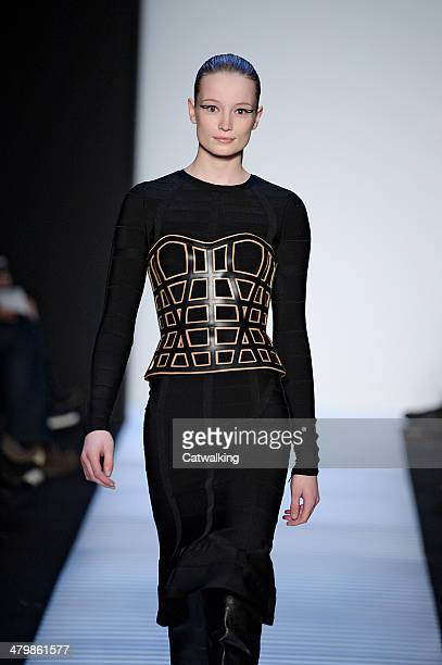 Model walks the runway at the Herve Leger by Max Azria Autumn Winter 2014 fashion show during New York Fashion Week on February 8, 2014 in New York,...
