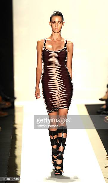 A model walks the runway at the Herve Leger By Max Azria fashion show during MercedesBenz Fashion Week Spring 2012 at Lincoln Center on September 13...