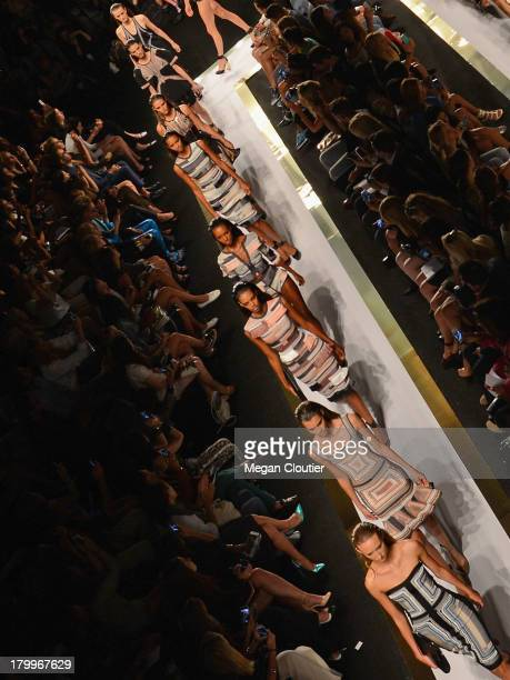 Model walks the runway at the Herve Leger By Max Azria fashion show duringMercedes-Benz Fashion Week Spring 2014 on September 7, 2013 in New York...