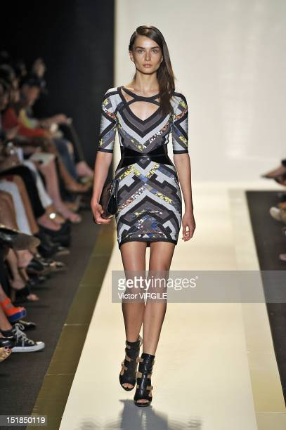 Model walks the runway at the Herve Leger By Max Azria Spring 2013 fashion show during Mercedes-Benz Fashion Week at The Theatre, Lincoln Center on...