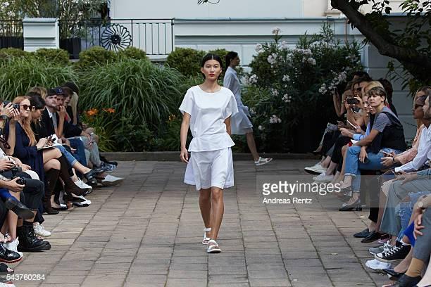 A model walks the runway at the Hien Le defilee during the Der Berliner Mode Salon Spring/Summer 2017 at Kronprinzenpalais on June 28 2016 in Berlin...