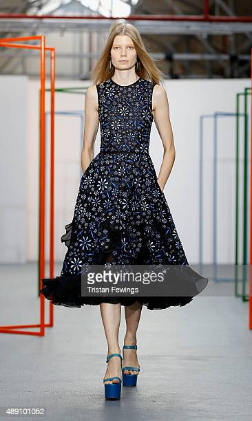 Model walks the runway at the Holly Fulton show during London Fashion Week Spring/Summer 2016 on September 19, 2015 in London, England.