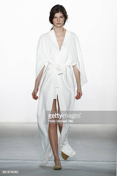A model walks the runway at the holyGhost show during the MercedesBenz Fashion Week Berlin A/W 2017 at Kaufhaus Jandorf on January 17 2017 in Berlin...