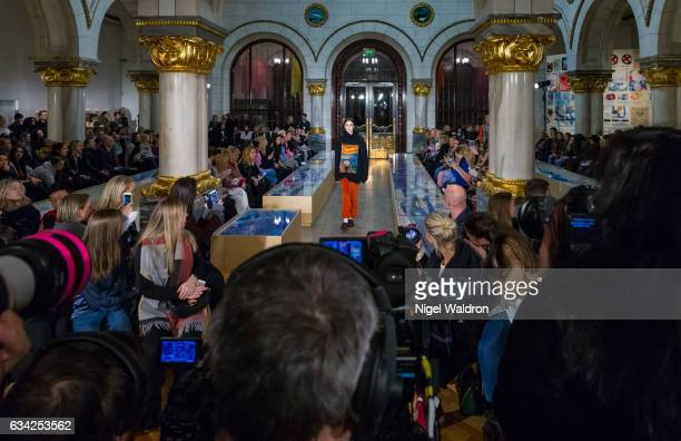 A model walks the runway at the Holzweiler show during the Fashion Week Oslo Autumn/Winter 2017 at the Munch Museum on February 07 2017 in Oslo Norway