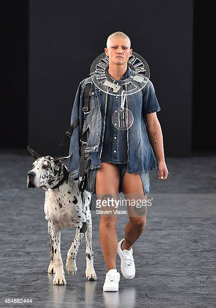 A model walks the runway at the Hood By Air fashion show during MercedesBenz Fashion Week Spring 2015 at Spring Studios on September 7 2014 in New...