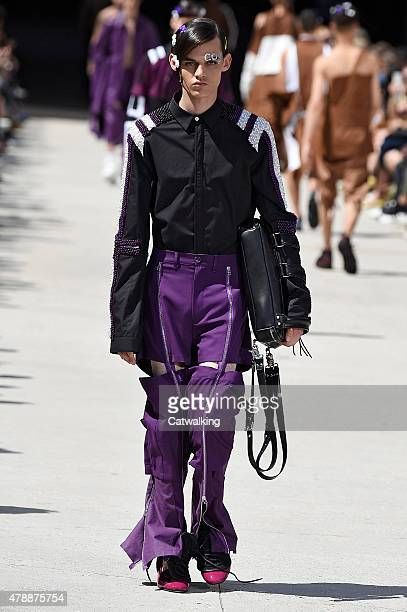 Model walks the runway at the Hood by Air Spring Summer 2016 fashion show during Paris Menswear Fashion Week on June 28, 2015 in Paris, France.