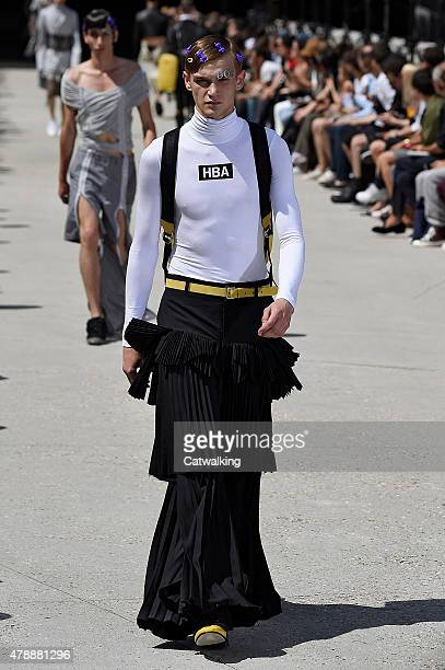 A model walks the runway at the Hood by Air Spring Summer 2016 fashion show during Paris Menswear Fashion Week on June 28 2015 in Paris France