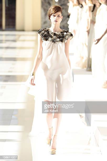 Model walks the runway at the Houghton fall 2012 fashion show during Mercedes-Benz Fashion Week at Avery Fisher Hall, Lincoln Center on February 9,...