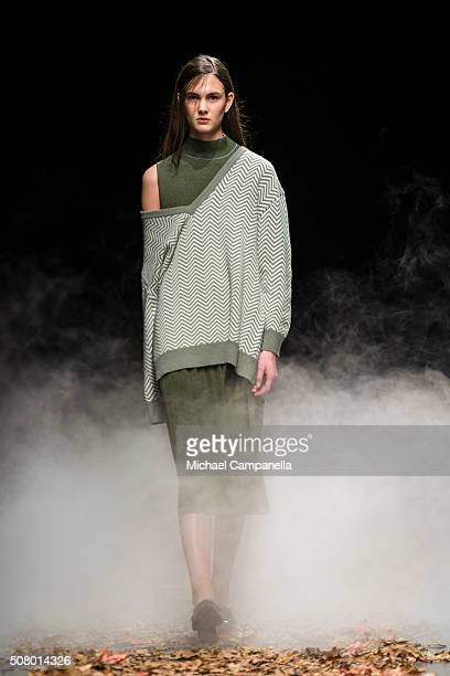 A model walks the runway at the House of Dagmar show during Stockholm Fashion Week at Kulturhuset on February 2 2016 in Stockholm Sweden