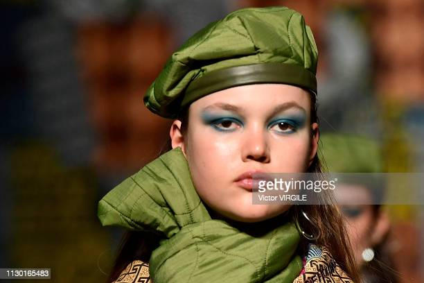 A model walks the runway at the House of Holland Ready to Wear Fall/Winter 20192020 fashion show during London Fashion Week February 2019 on February...