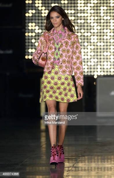 A model walks the runway at the House of Holland show during London Fashion Week Spring Summer 2015 at on September 13 2014 in London England