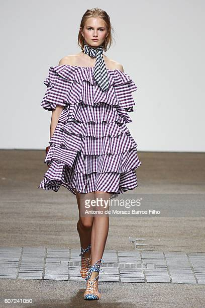 Model walks the runway at the House of Holland show during London Fashion Week Spring/Summer collections 2016/2017 on September 17, 2016 in London,...