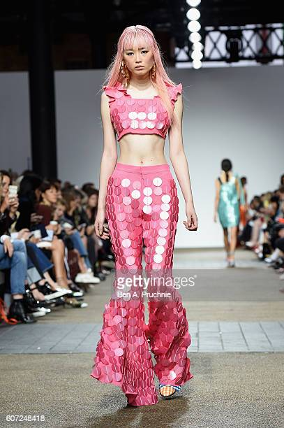 A model walks the runway at the House of Holland show during London Fashion Week Spring/Summer collections 2017 on September 17 2016 in London United...