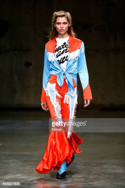 Model walks the runway at the House of Holland show during the London Fashion Week February 2017 collections on February 18, 2017 in London, England.