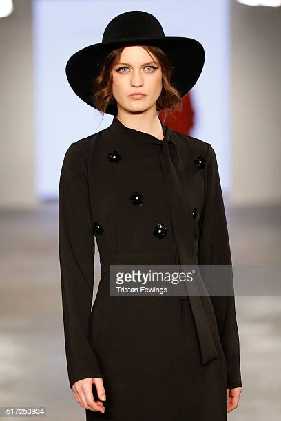 A model walks the runway at the House of Nomad show during Dubai collections March 2016 by Emaar at Burj Khalifa on March 24 2016 in Dubai United...