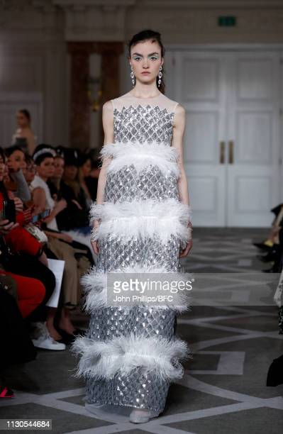 A model walks the runway at the Huishan Zhang show during London Fashion Week February 2019 at the The Principal Hotel on February 18 2019 in London...