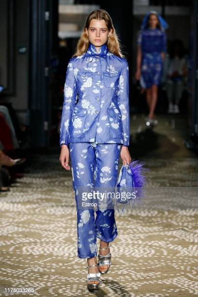 Model walks the runway at the Huishan Zhang show during London Fashion Week September 2019 on September 16, 2019 in London, England.