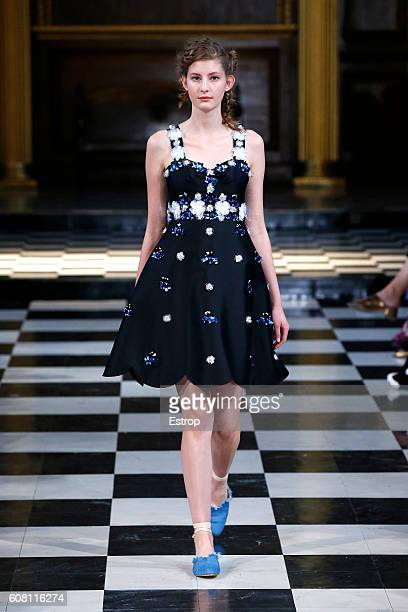 A model walks the runway at the Huishan Zhang show during London Fashion Week Spring/Summer collections 2017 on September 19 2016 in London United...