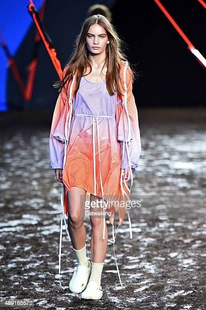 A model walks the runway at the Hunter Original Spring Summer 2016 fashion show during London Fashion Week on September 19 2015 in London United...