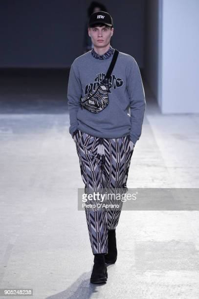 Model walks the runway at the Hunting World show during Milan Men's Fashion Week Fall/Winter 2018/19 on January 15, 2018 in Milan, Italy.