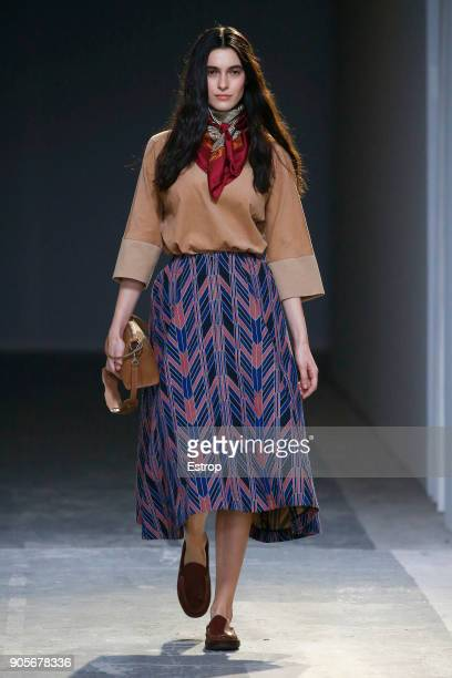A model walks the runway at the Hunting World show during Milan Men's Fashion Week Fall/Winter 2018/19 on January 15 2018 in Milan Italy