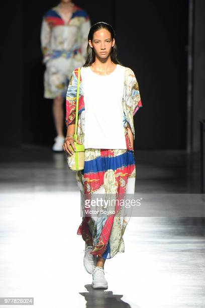 Model walks the runway at the Hunting World show during Milan Men's Fashion Week Spring/Summer 2019 on June 18, 2018 in Milan, Italy.
