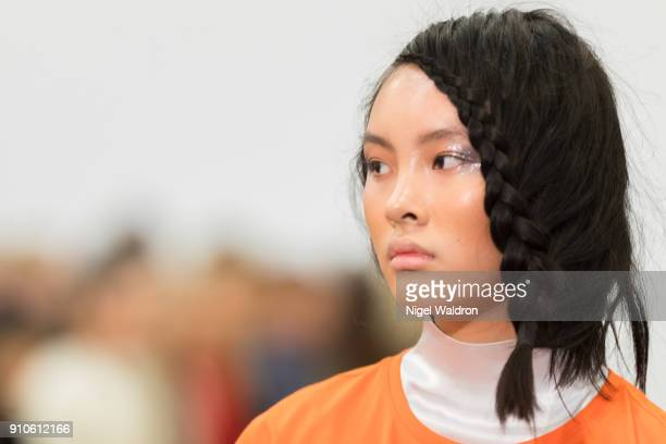 A model walks the runway at the IBEN show during the Fashion Week Oslo 2018 at Nedre Gate 7 on January 26 2018 in Oslo Norway
