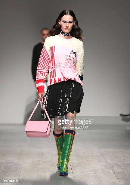 A model walks the runway at the ICEBERG show during London Fashion Week Men's June 2018 at BFC Show Space on June 8 2018 in London England