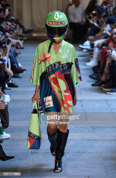 A model walks the runway at the Iceberg show during Milan Fashion Week Spring/Summer 2019 on September 21 2018 in Milan Italy