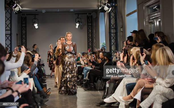 A model walks the runway at the Ida Sjostedt show during MercedesBenz Stockholm Fashion Week AW14 on January 28 2014 in Stockholm Sweden