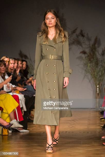 A model walks the runway at the Ida Sjostedt show during Stockholm Runway SS19 at Grand Hotel on August 29 2018 in Stockholm Sweden