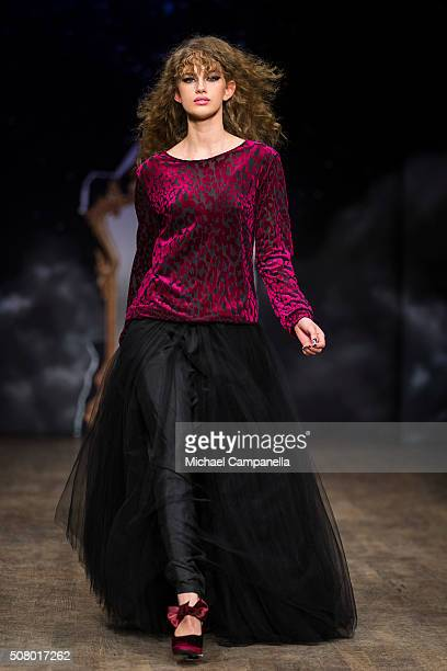 A model walks the runway at the Ida Sjostedt show during Stockholm Fashion Week at Berns hotel on February 2 2016 in Stockholm Sweden