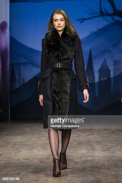 A model walks the runway at the Ida Sjostedt show during the Stockholm Fashion Week Autumn/Winter 2017 at Berns on January 30 2017 in Stockholm Sweden