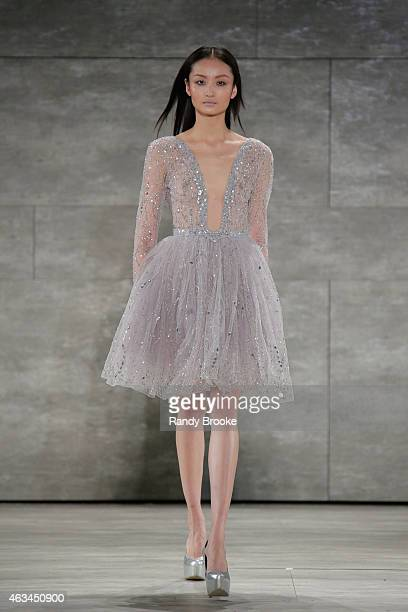 Model walks the runway at the Idan Cohen Fashion Show during Mercedes-Benz Fashion Week Fall 2015 at The Pavilion at Lincoln Center on February 14,...