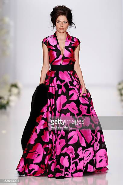 Model walks the runway at the IGOR GULYAEV show during Mercedes-Benz Fashion Week Russia S/S 2014 on October 26, 2013 in Moscow, Russia.