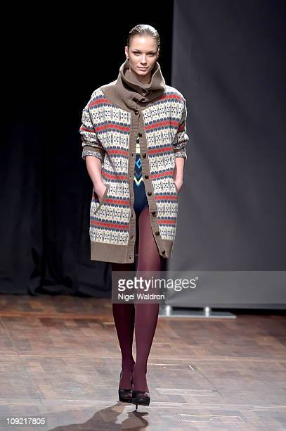 A model walks the runway at the iis of Norway show at Oslo Fashion Week Autumn/Winter 2011 on February 16 2011 in Oslo Norway