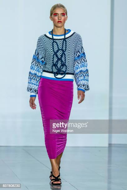 A model walks the runway at the iis Woodling show during the Fashion Week Oslo Spring/Summer 2018 at the Sentralen on August 23 2017 in Oslo Norway