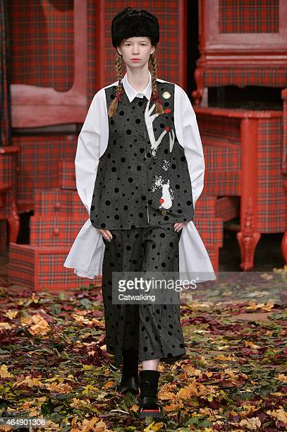 A model walks the runway at the I'M Isola Marras Autumn Winter 2015 fashion show during Milan Fashion Week on March 1 2015 in Milan Italy