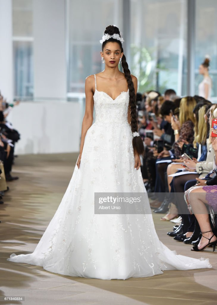 A model walks the runway at the Ines Di Santo show during New York Fashion Week: Bridal at The IAC Building on April 21, 2017 in New York City.