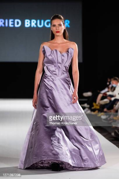Model walks the runway at the Ingried Brugger show during the MQ Vienna Fashion Week.20 at Museumsquartier on September 08, 2020 in Vienna, Austria....