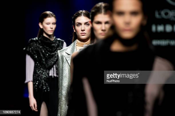 A model walks the runway at the Inunez fashion show during the Mercedes Benz Fashion Week Autumn/Winter 20192020 at Ifema in Madrid Spain January 28...