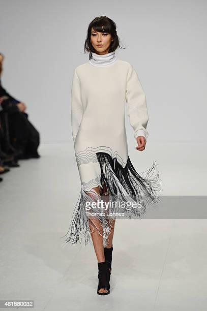 A model walks the runway at the Ioana Ciolacu show during the MercedesBenz Fashion Week Berlin Autumn/Winter 2015/16 at Brandenburg Gate on January...