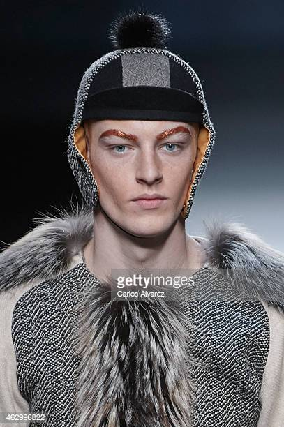 A model walks the runway at the Ion Fiz show during Madrid Fashion Week Fall/Winter 2015/16 at Ifema on February 8 2015 in Madrid Spain