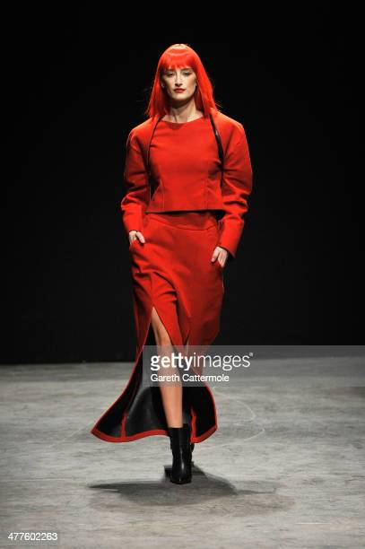 A model walks the runway at the Ipek Arnas show during MBFWI presented by American Express Fall/Winter 2014 on March 10 2014 in Istanbul Turkey