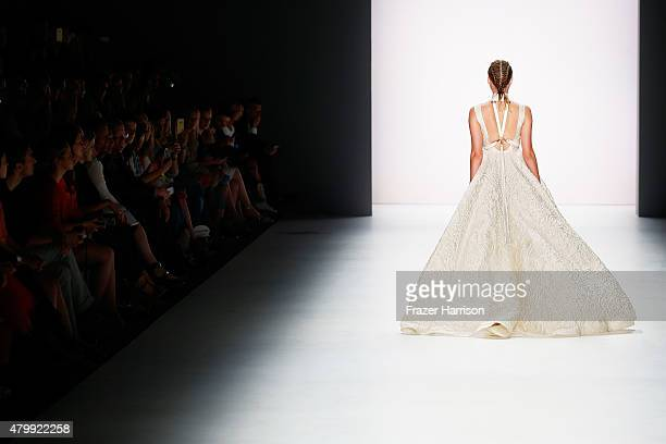 A model walks the runway at the Irene Luft show during the MercedesBenz Fashion Week Berlin Spring/Summer 2016 at Brandenburg Gate on July 8 2015 in...