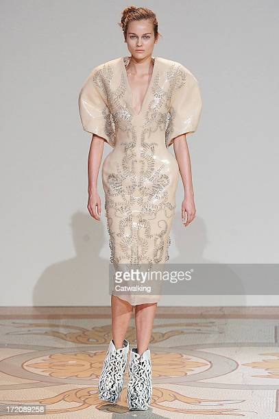 A model walks the runway at the Iris Van Herpen Autumn Winter 2013 fashion show during Paris Haute Couture Fashion Week on July 1 2013 in Paris France