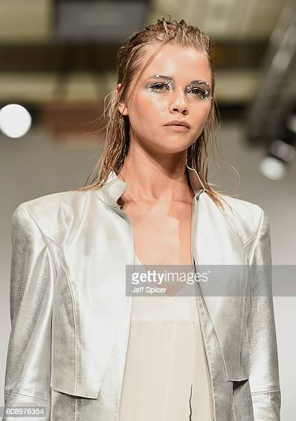 A model walks the runway at the Irynvigre show at Fashion Scout during London Fashion Week Spring/Summer collections 2017 on September 20 2016 in...