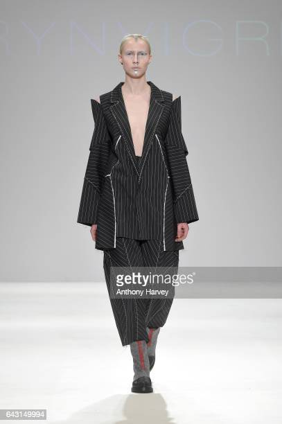 A model walks the runway at the Irynvigre show during the London Fashion Week February 2017 collections on February 20 2017 in London England
